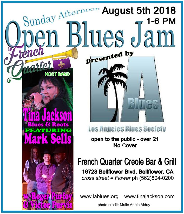 French Quarter Bellflower,Blues, Mark Sells, Tina Jackson, Los Angeles Blues Society
